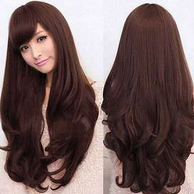 Peluca Aspecto Natural Marron Oscuro 65 Cm Semi Ondulada Castaño Peinado Larga