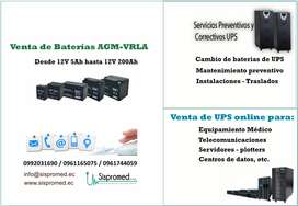 Baterias para UPS - UPS Bifasico - UPS Trifasico - Servicio Tecnico de UPS - UPS 3kva 220V - UPS Online - Reguladores