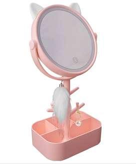 Espejo Luz Led Diseño Gato Recargable 360° + Organizador