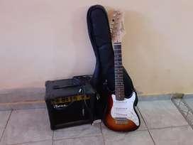 Guitarra eléctrica Texas (para niños)mas estuche negroAmplificador Ross