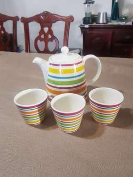 REMATE!!.Juego de Té Ceramica Corona Multicolor 3