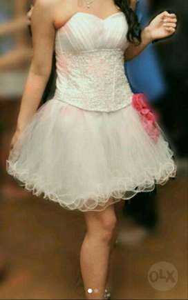 Vestido de 15 Blanco con Dos Faldas