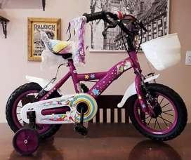 Bicicleta bmx nena rodado 12 unicornio con rueditas  NUEVAS!!