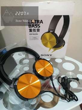 Diadema Sony con microfono xb 450 amarillas~doradas