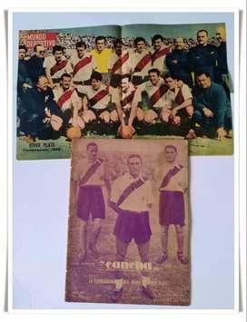 Revista La Cancha tapa River Plate de 1935 (N°356) + Póster del equipo de 1956 de la revista Mundo Deportivo