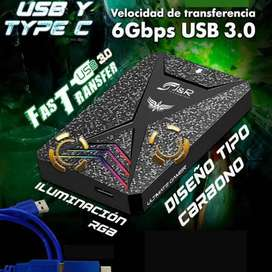 CAJA EXTERNA PARA DISCO DURO DE PORTÁTIL USB 3.0 Y TIPO C ILUMINACIÓN RGB CARBONO