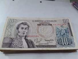 Lote de billetes 10 pesos Oro