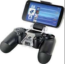 Soporte de celular para control play station 4, color negro con transparente