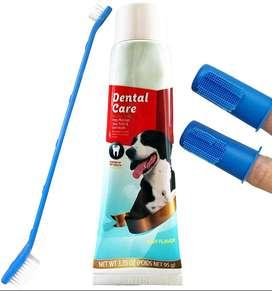 Kit Aseo Dental Perros Y Gatos Crema Dental Cepillo 2 Dedal