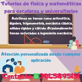 Tutorias de matemáticas y física para escolares y universitarios.