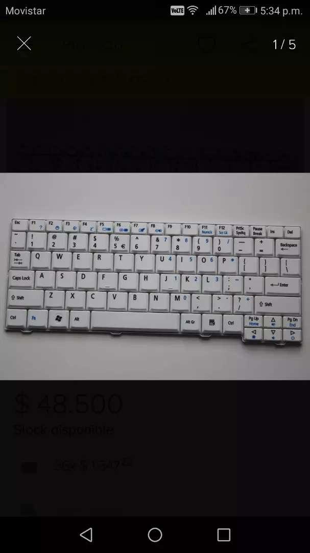 Teclado Acer One Zg5 Blanco 0