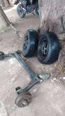 Eje de senda con ruedas