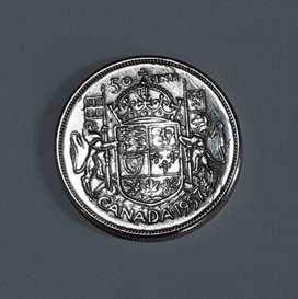 Moneda canadiense de plata 800, 50 cent, 1957, 11,6g, VF