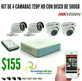 KIT 4 CÁMARAS DE SEGURIDAD, HIKVISION:ALTA DEFINICIÓN HD 720P.