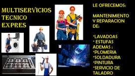 OFRECEMOS SERVICIO TÉCNICO A LAVADORAS Y ESTUFAS, TAMBIEN SOLDADURA, PLOMERIA, ADEMAS SERVICIO DE TALADRO A DOMICILIO