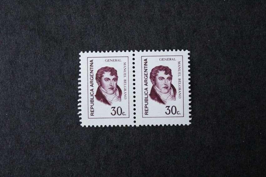 BLOCK 2 ESTAMPILLAS ARGENTINA, 1974, GRAL MANUEL BELGRANO, VALOR 30 C, MINT 0
