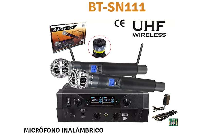 MICRÓFONO INALÁMBRICO UHF PROFESIONAL BATBLACK 0