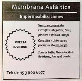 COLOCACION DE MEMBRANA ASFÁLTICA. Impermieabilizaciones. Presupuesto sin cargó . Diego