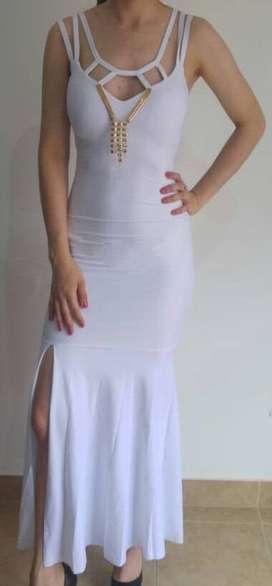 Vestido blanco de fiesta elegante Talle 1/2