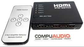 Switch de 5 puertos de entrada HDMI a 1 salida HDMI con control remoto inalambrico