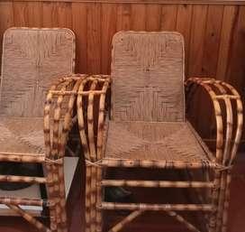 Juego de sillones de Mimbre