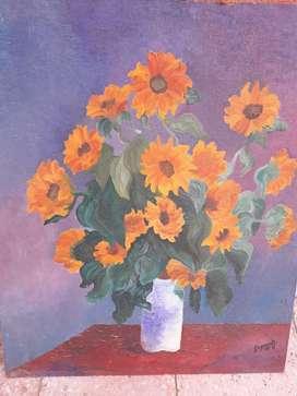 Óleo copia de Los Girasoles de Monet