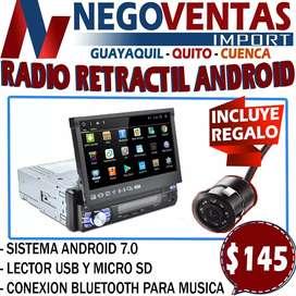 RADIO PARA CARRO ANDROID RETRACTIL DE UN DIN BLUETOOTH + CAMARA DE RETRO GRATIS