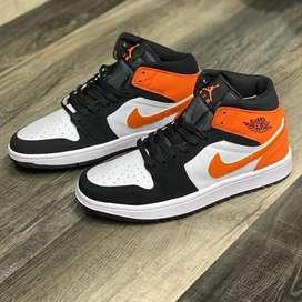 Botas Nike Jordan 1 Blanco Negro Naranja Envio Gratis