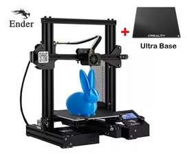 ENDER 3D Creality Impresión en 3D+cama de  cristal ultrabase.