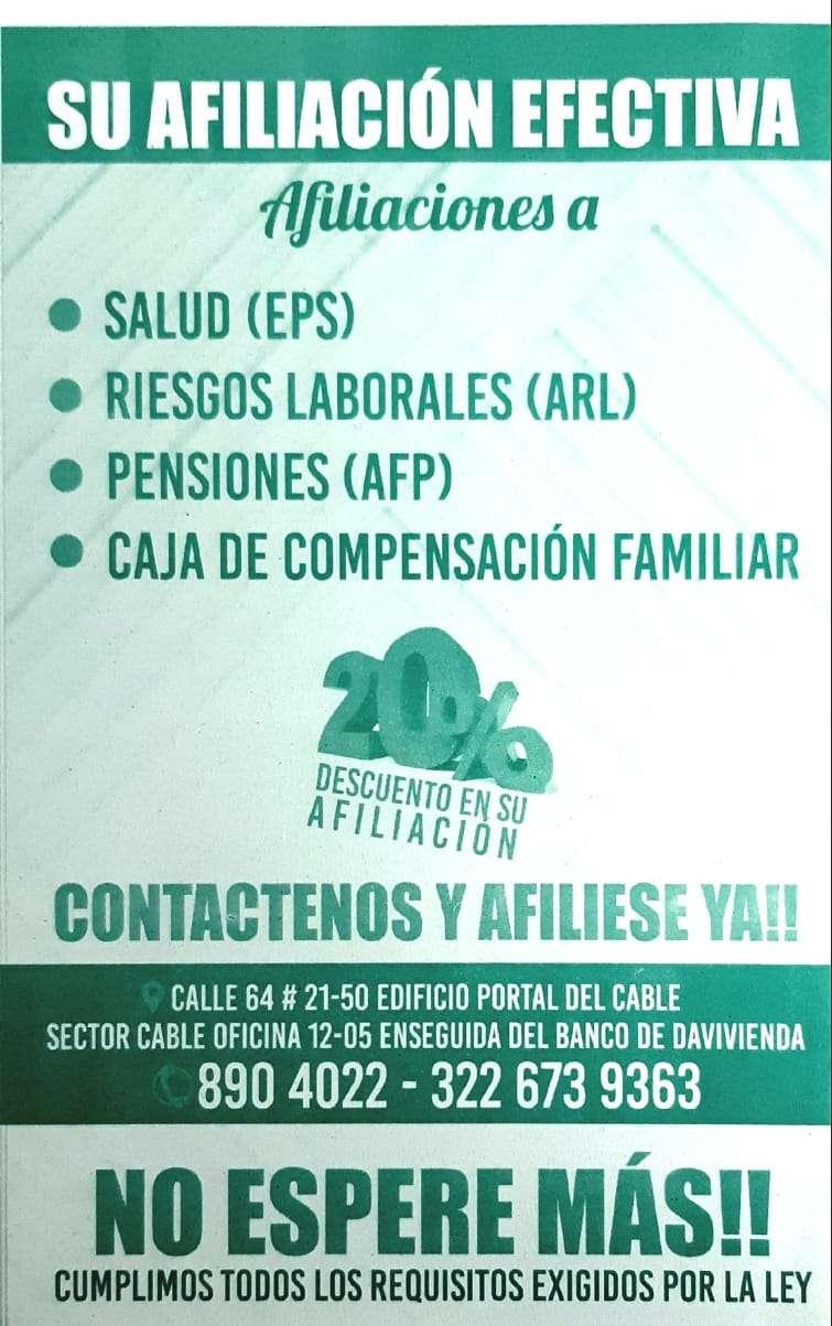 AFILIACIONES A SALUD, RIESGOS LABORALES, PENSIÓN Y CONFA 0