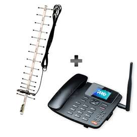 Kit Rural Antena Amplificadora de señal Yagi 17 Db Y Celular De Mesa Teléfono Celufijo ProElectronic Procs-5040w