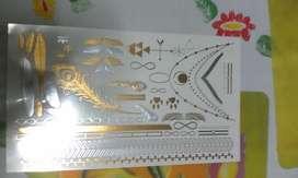 Tatuajes temporales color dorado PLATEADO cyzone d14