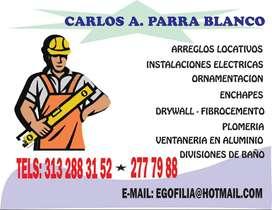 TECNICO EN CONSTRUCCION Y REPARACION DE LOCATIVAS, 15 AÑOS DE ESPERIENCIA, INSTALACION DE DRYWALL, MAMPOSTERIA  Y ENCHAP