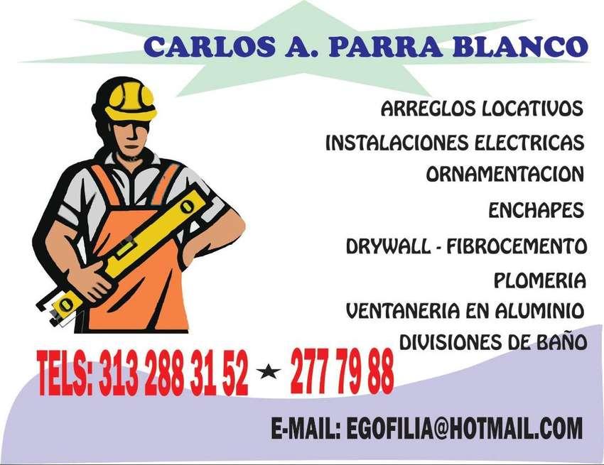 TECNICO EN CONSTRUCCION Y REPARACION DE LOCATIVAS, 15 AÑOS DE ESPERIENCIA, INSTALACION DE DRYWALL, MAMPOSTERIA  Y ENCHAP 0