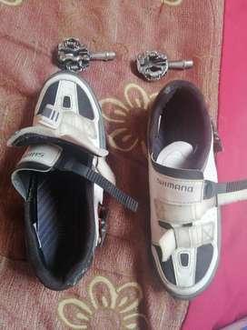 Zapatos shimabo para bicicleta y clips