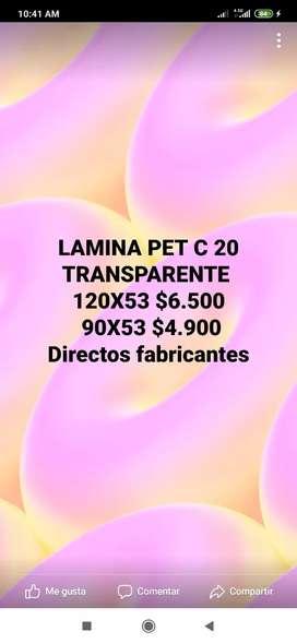 LAMINAS PET TRANSPARENTE C 20