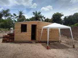 Prefabricada de 3x6 metros techo de dos aguas con su puerta y tres ventanas