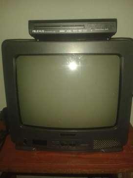 vendo televisor de 14 pulgadas, un dvd con usb y un equipo de sonido.todos con sus controles.