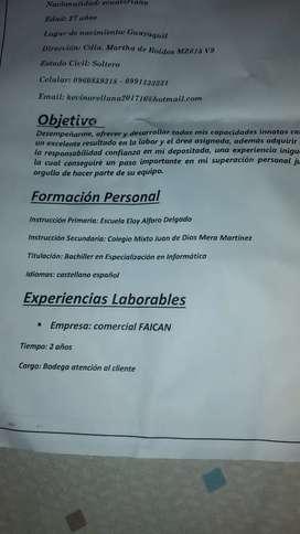 Busco trabajo tengo experiencia en bodega repartidor limpieza obrero produccion