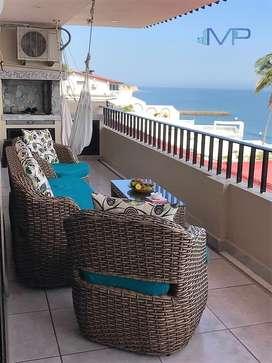 Se vende departamento de lujo amoblado en Manta frente al Mar