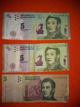 Vendo lote de billetes $5 pesos Argentinos