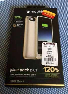 Batería - Protector Mophie Juice Pack Plus - IPhone 6/6S - 120% de carga extra en tu Batería de 3,300mAh, Nueva en caja
