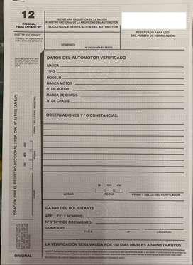 Formulario 12 Automotor para la Verificación