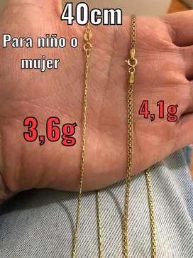 Cadena de oro italiano para niño o mujer 40cm cada una a 120 mil el gramo