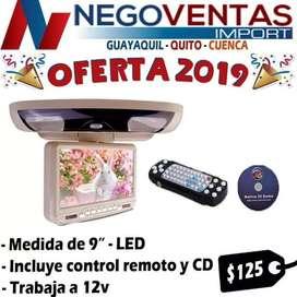 PANTALLA DE TECHO DE 9 PL REPRODUCTOR DE CD DVD