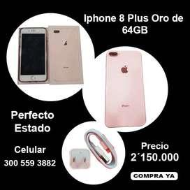 Iphone 8 plus Oro de 64GB, En perfecto estado 10/10