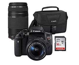 Cámara Canos EOS rebel t6i + 2 lentes y accesorios