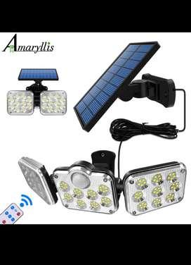 Lampara solar con control remoto y sensor de movimiento