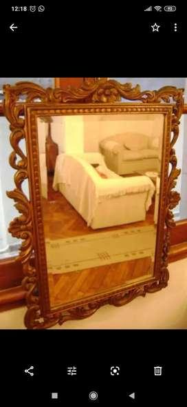 Juego de espejo antiguo tallado y Dressoire de mármol de estilo francés Luis xv xvi Dresoir antiguo hay barroco