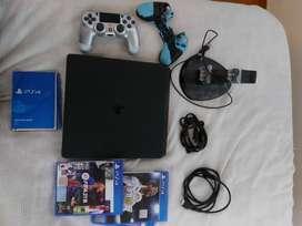 Consola Play Station 4 PS4 SLIM 1 TERA.+1 CONTROL+FIFA21+CARGADOR+CABLE DATOS.+FORRO CONTROL